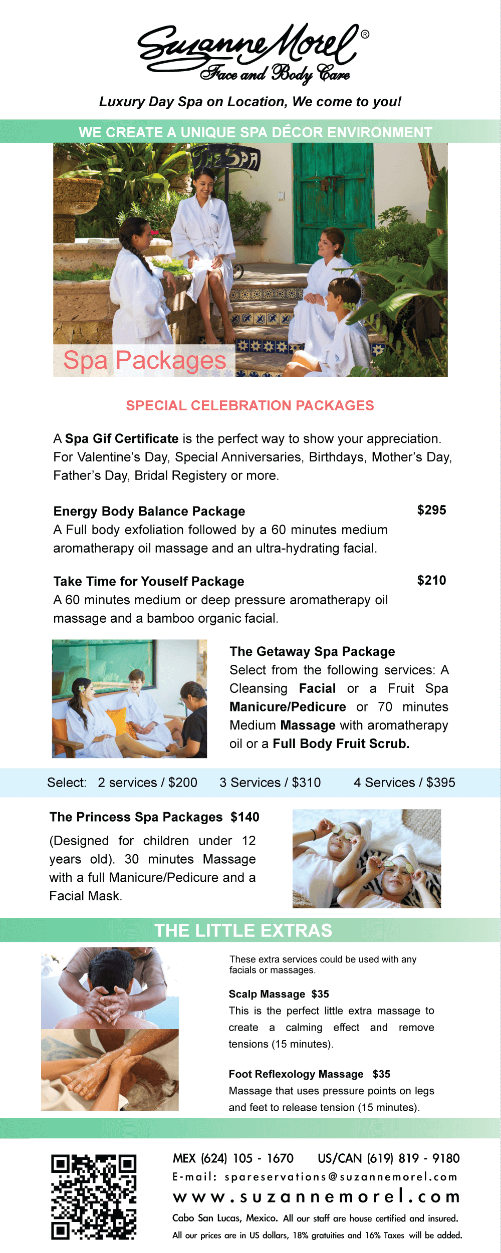 Suzanne morel face and body care suzanne morel for Weekend girl getaways spa packages