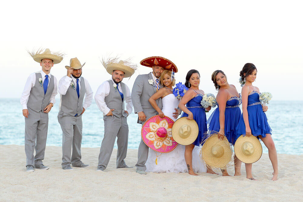 Mexican photoghraphy bridal party beach Dreams Los Cabos Blue and gray